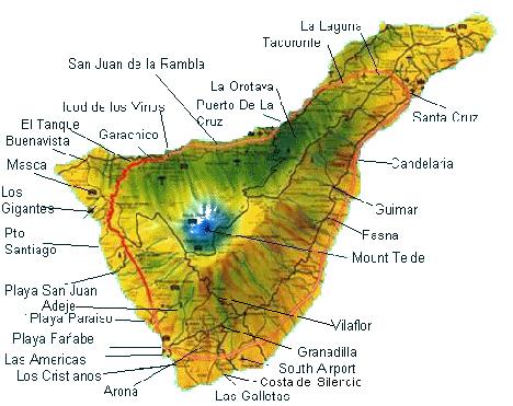kart over tenerife Kart Tenerife | Kart over Tenerife og de mest kjente Feriestedene kart over tenerife